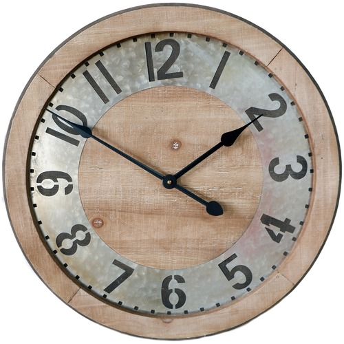 High ST. Extra Large Industrial Galvanised & Timber Clock