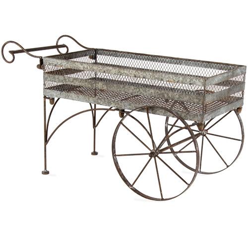 High ST. Rust Wash Iron Flower Cart