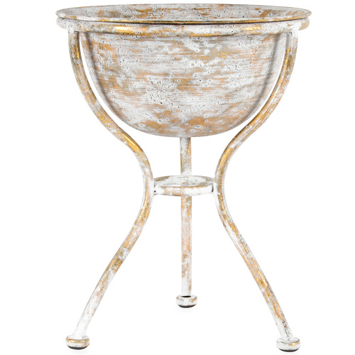 High ST. Gold Lustre Metal Footed Bowl with Stand