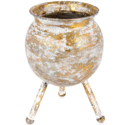 High ST. Gold Lustre Metal Footed Decorative Planter