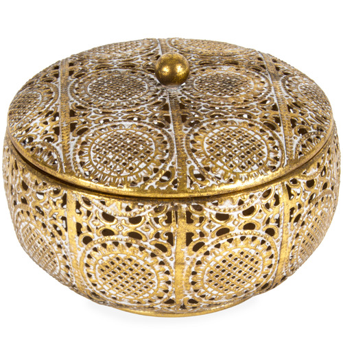High ST. Gold Round Quatrefoil Metal Trinket Box