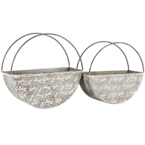 High ST. 2 Piece Elemental Dragonfly Iron Wall Planter Set