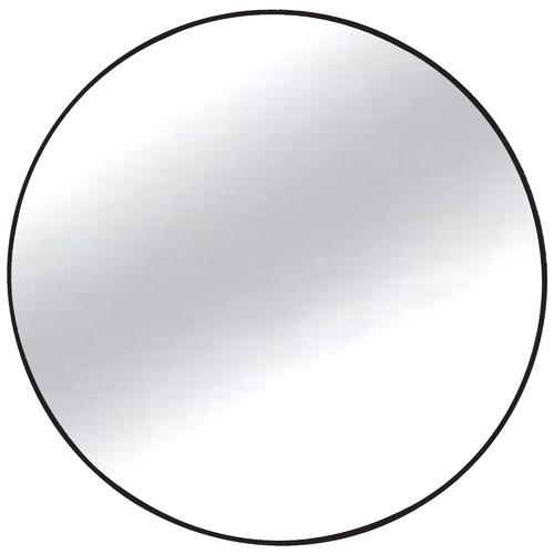 High ST. Black Slimline Round Metal Wall Mirror