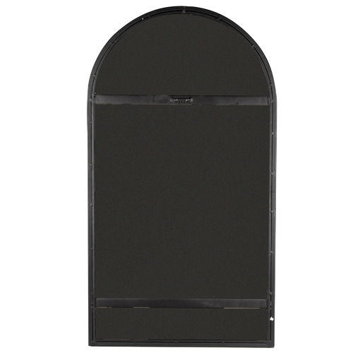 High ST. Black Slimline Arched Metal Wall Mirror