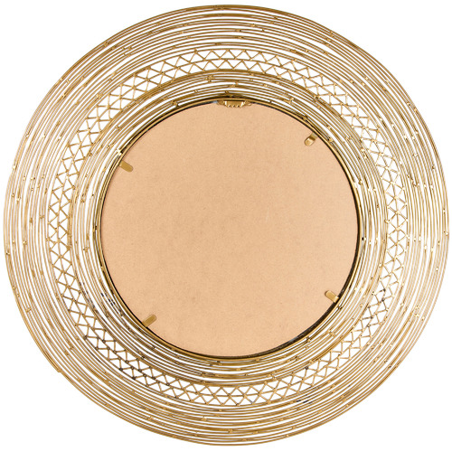 High ST. Distressed Gold Crafted Round Metal Wall Mirror
