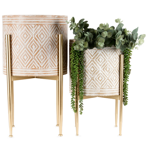 High ST. 2 Piece Lustre Vector Metal Planter Set