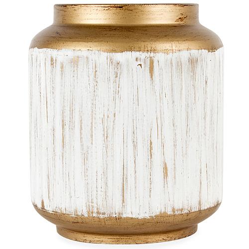 High ST. 19cm White Lustre Decorative Metal Vase
