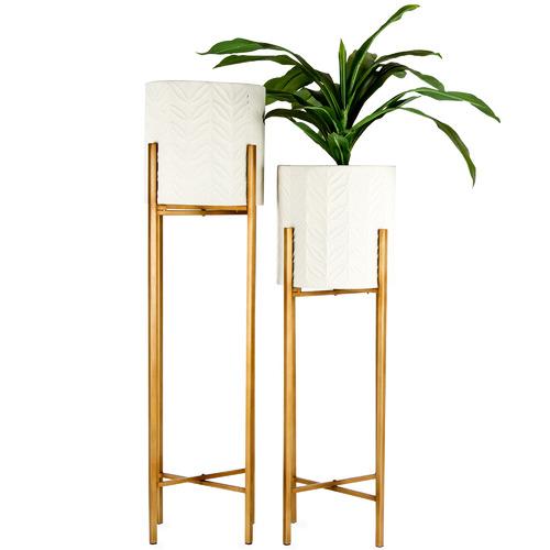 High ST. 2 Piece Lustre Bloom Metal Planter Set