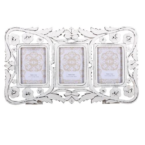 High ST. Large Vintage White 3 Slot Collage Frame
