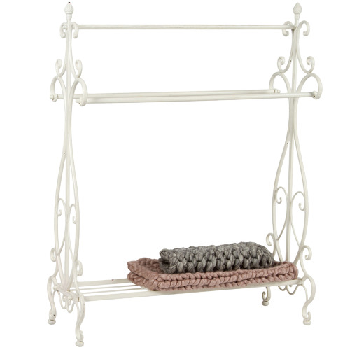 High ST. White Large Ornate Towel Stand