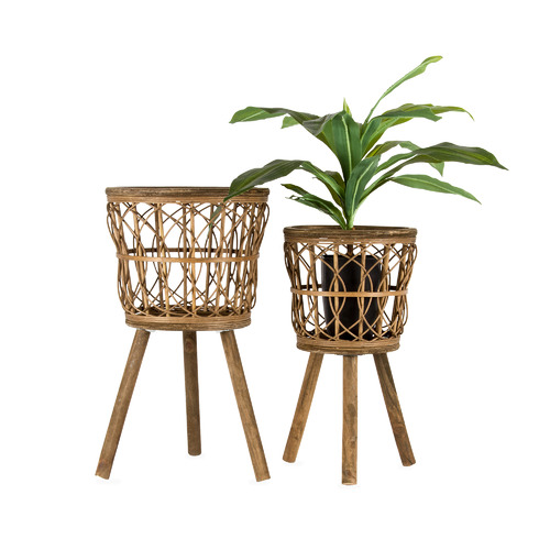 High ST. 2 Piece Neutral Bamboo Pot Planters Set