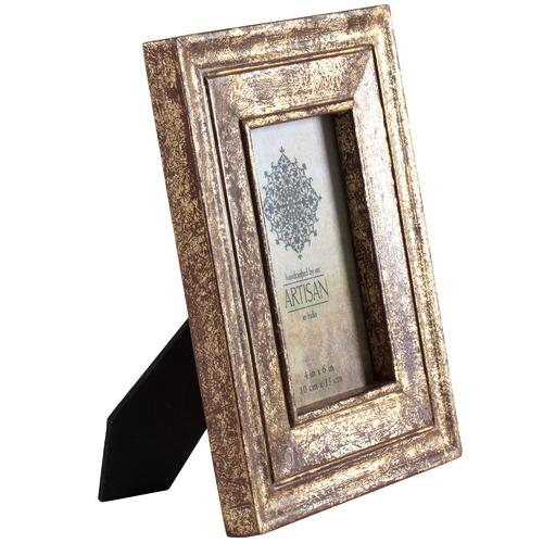 "High ST. Antique Gold Artisan 4 x 6"" Wooden Photo Frame"