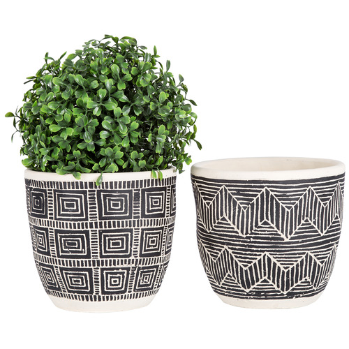 High ST. 2 Piece Grey Vector Concrete Planter Set