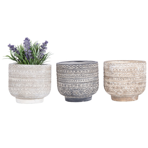 High ST. 3 Piece Aztec Earth Concrete Planter Set