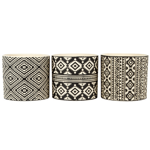 3 Piece Black & Ivory Aztec Terracotta Planter Set