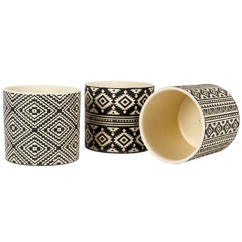 High ST. 3 Piece Black & Ivory Aztec Terracotta Planter Set