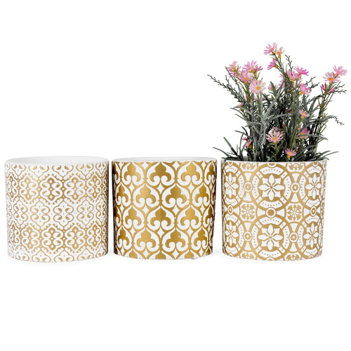 High ST. 3 Piece White & Gold Luxe Terracotta Planter Set