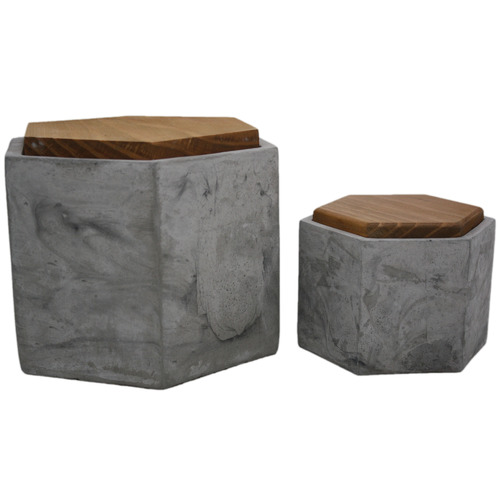 High ST. 2 Piece Grey Hexagon Concrete Box Set