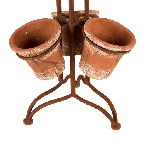 High ST. Tall Rust 6 Pot Terracotta Planter Stand