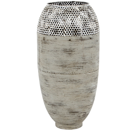 High ST. Distressed Grey Hole-Punched Metal Vase