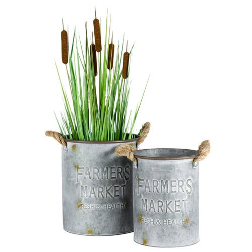 High ST. 2 Piece Round Farmers Market Metal Bucket Planter Set