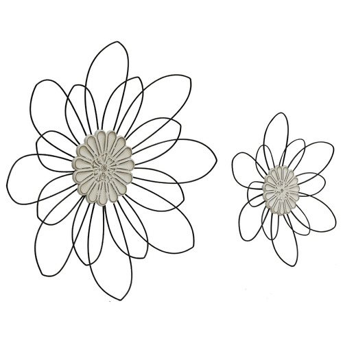 2 Piece Moulded Centre Flower Wall Accent