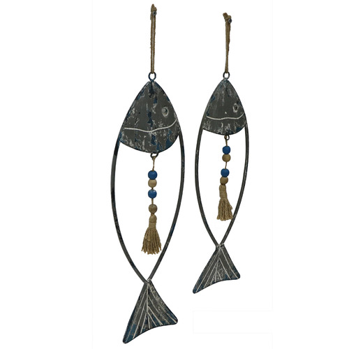 High ST. 2 Piece Tasselled Hanging Fish Wall Accent