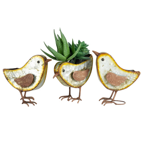 High ST. 3 Piece Rust Bird Planter Set