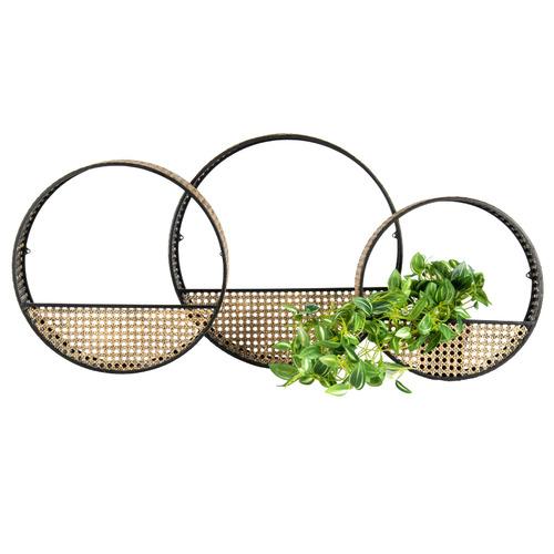 3 Piece Black & Natural Planter Set