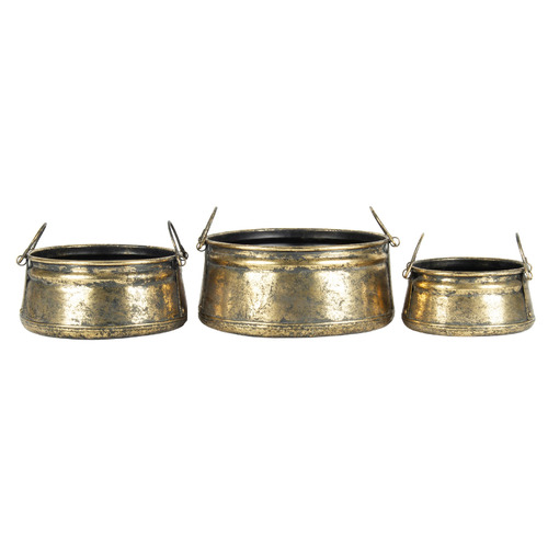 High ST. 3 Piece Vintage-Style Metal Pot Set