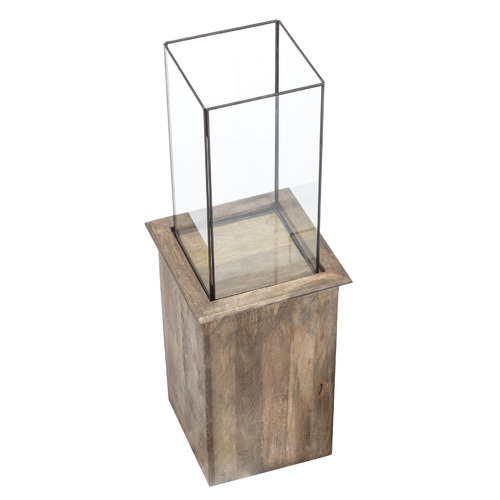 High ST. Mango Wood & Glass Terrarium