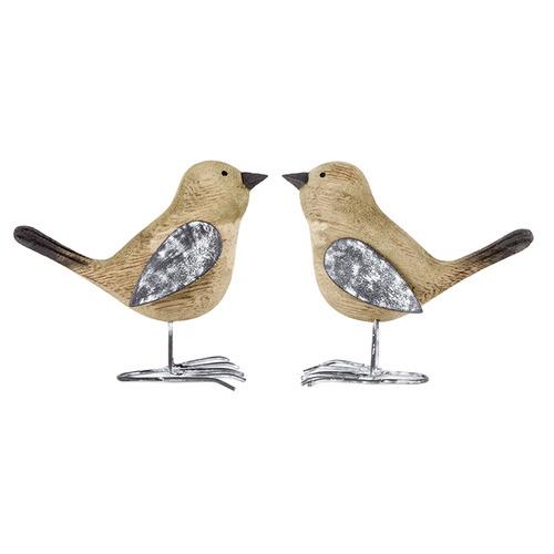 2 Piece Wooden Shabby Birds Statue Set