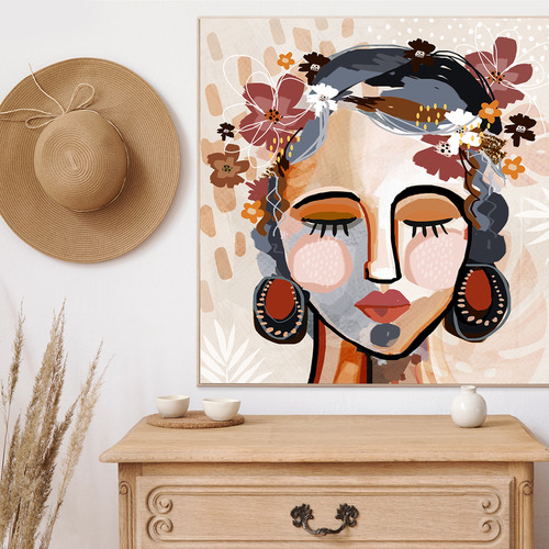 Ocher Lia Framed Canvas Wall Art