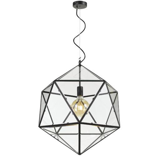 Spectra Lighting Black Prizma Iron & Glass Pendant Light