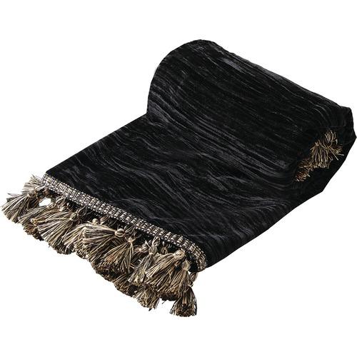 Da Vinci Black Venetian Velvet Throw