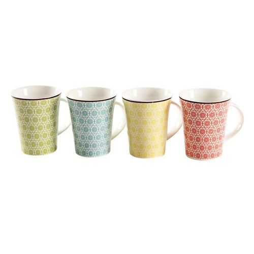 TuffSteel Set of 4 Floral Mugs