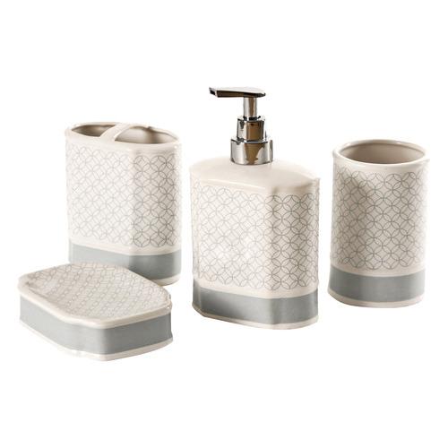 Nova 4 Piece White Blue Bathroom, Modern Bathroom Decor Set