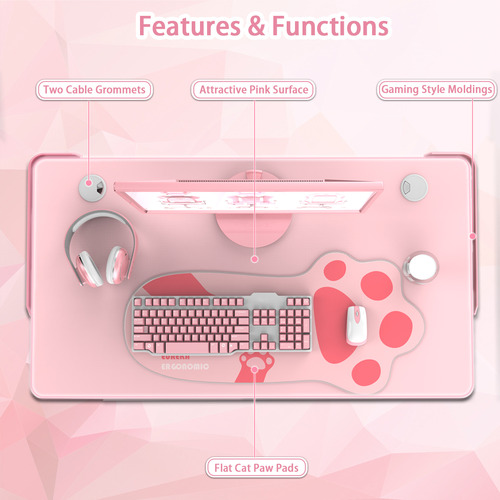 ThunderX3 Pink Eureka I1-S Ergonomic Gaming Desk