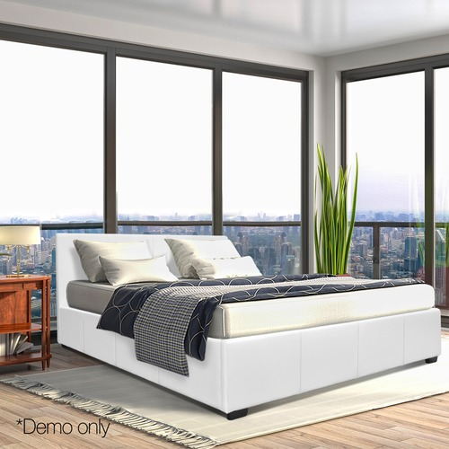 DwellHome White Queen Gas Lift PU Leather Bed Frame & Reviews ...