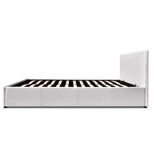 Dwell Home White Queen Gas Lift PU Leather Bed Frame