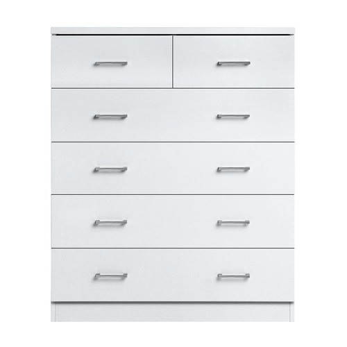 Dwell Home White Robyn 6 Drawer Tallboy Bedroom Storage