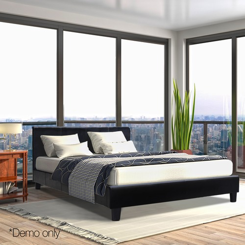Dwell Home Black Monte Faux Leather Bed Frame