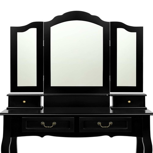 Dwell Home Black Clea 4 Drawer Dressing Table & Stool