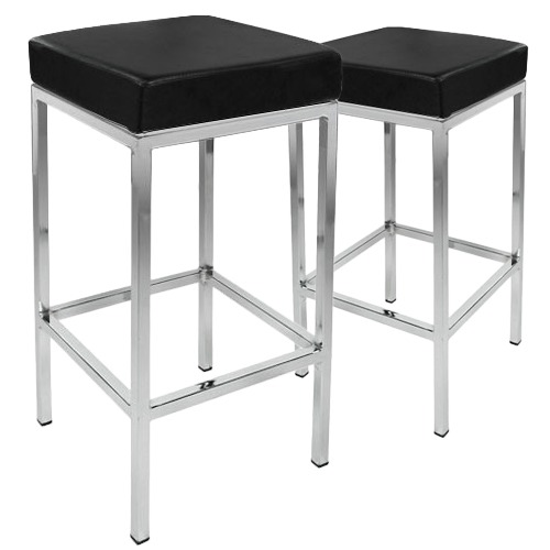 Dwell Home Square Contemporary Faux Leather Barstools