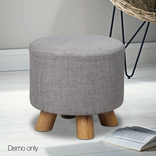 Dwell Home Round Collection Pine Wood Ottoman
