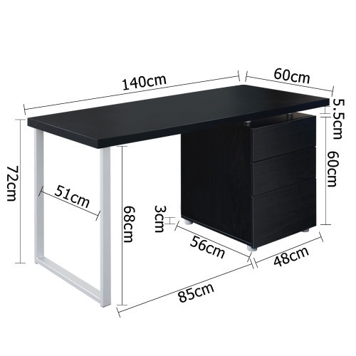 Dwell Home Office Study Computer Desk w/ 3 Drawer Cabinet Black