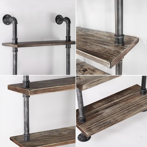 Dwell Home Industrial Metal & Pine Wood Floating Pipe Shelf