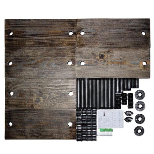 Dwell Home Industrial Metal & Pine Wood Floating Pipe Shelf