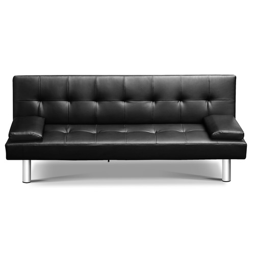 Dwell Home Black 3 Seater Faux Leather Sofa Bed