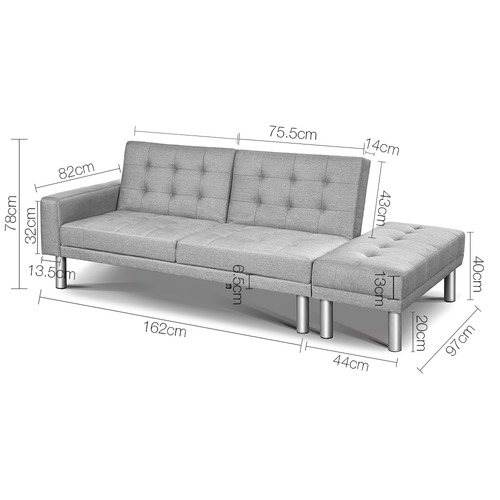 Dwell Home Grey Malloy 3 Seater Sofa Bed